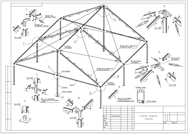 Садовый тент схема сборки
